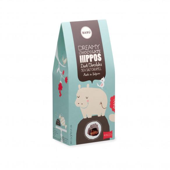 Barú Dreamy Hippos Dark Chocolate Sea Salt Caramel - 60 gram
