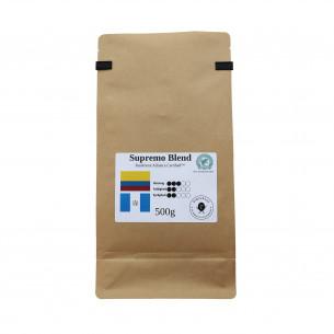 Supremo Blend hele kaffebønner. 500 gram i pose fra Din Luksus Kafferisteri