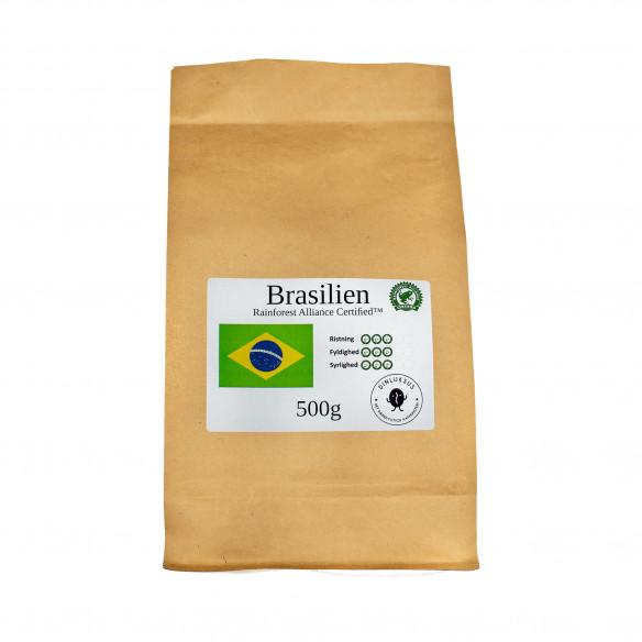 Brasilian Rainforest hele kaffebønner. Der er 500 gram kaffebønner i posen fra Kafferisteriet Din Luksus
