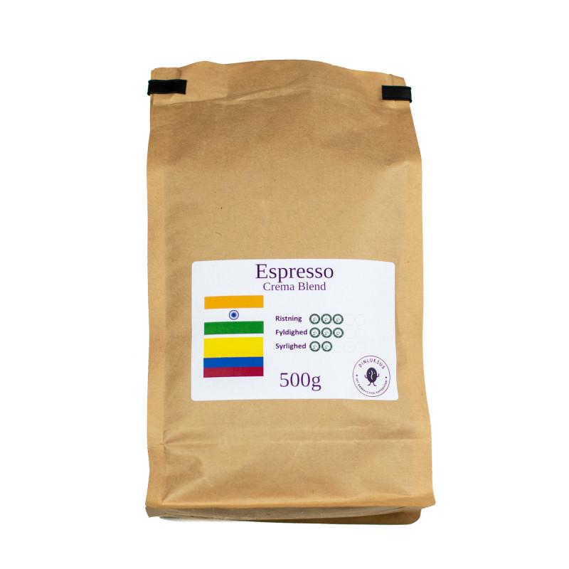 Espresso Crema Blend hele kaffebønner. 500 gram i pose fra Din Luksus Kafferisteri