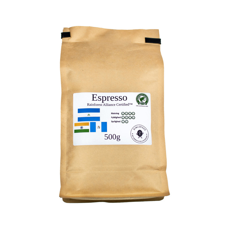 Espresso Rainforest Blend hele kaffebønner. 500 gram i pose fra Din Luksus Kafferisteri