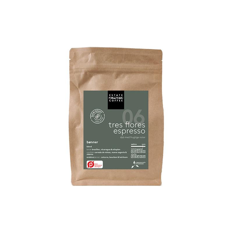 Tres Flores Økologisk kaffe fra Estate Coffee. Pose med 200 gram